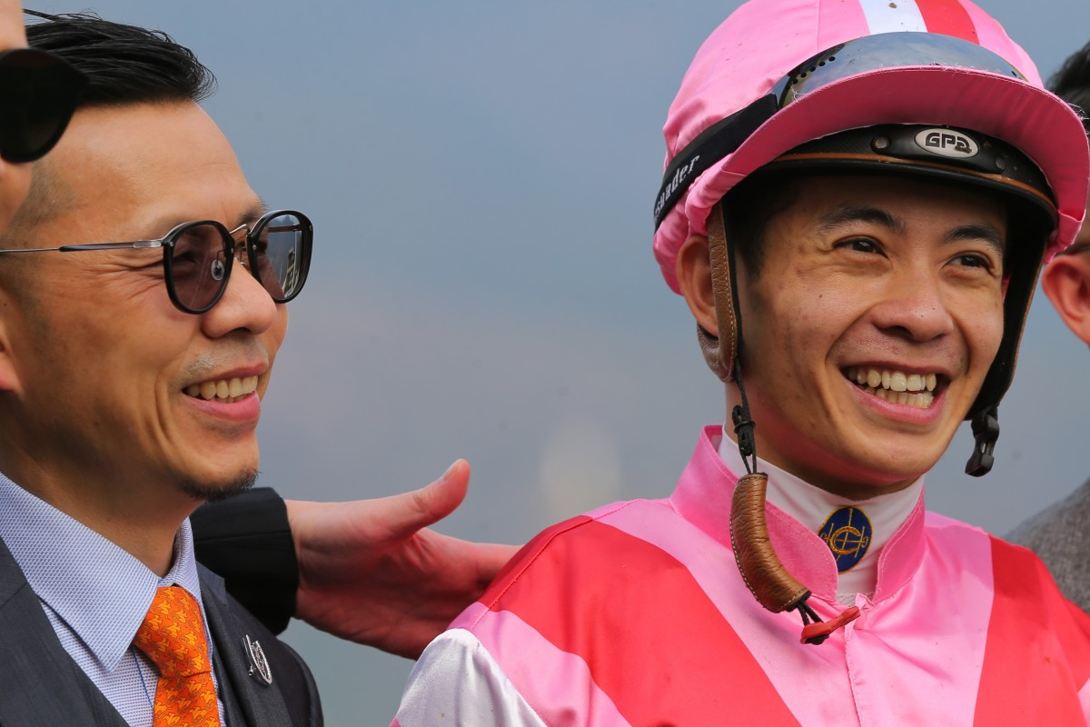 Derek Leung and Frankie Lor celebrate the win of Simply Brilliant at Sha Tin on Saturday. Photos: Kenneth Chan