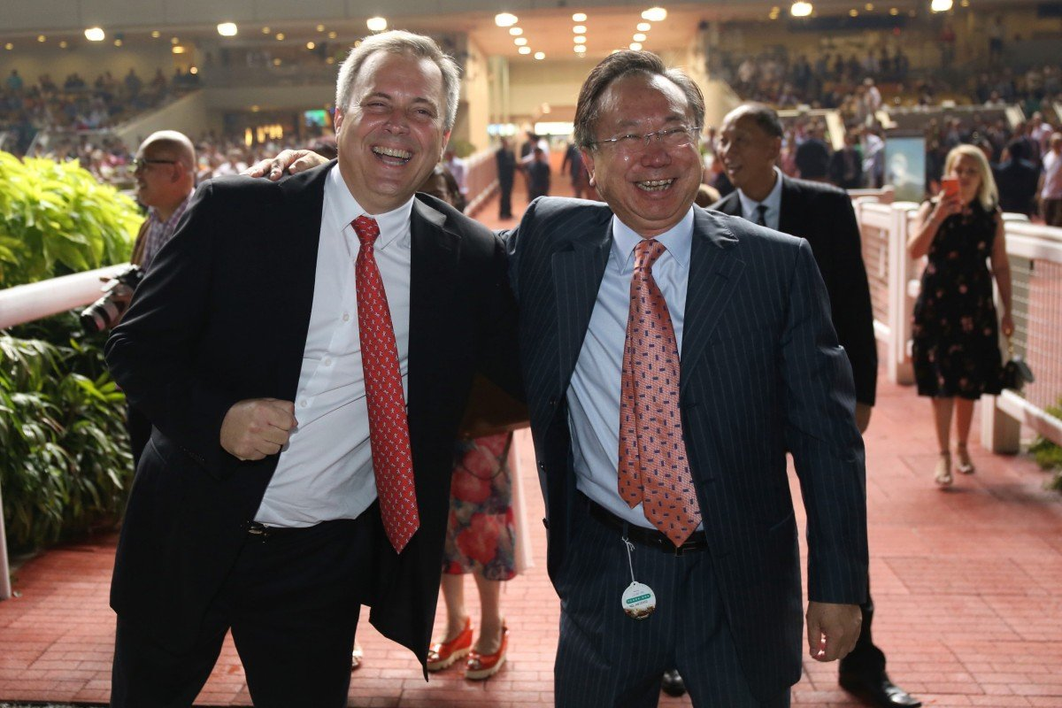 Trainer Caspar Fownes (left) and owner Boniface Ho celebrate a Southern Legend victory. Photos: Kenneth Chan