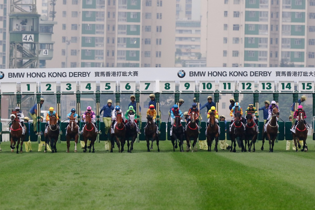 The field jumps for the 2019 Hong Kong Derby. Photos: Kenneth Chan