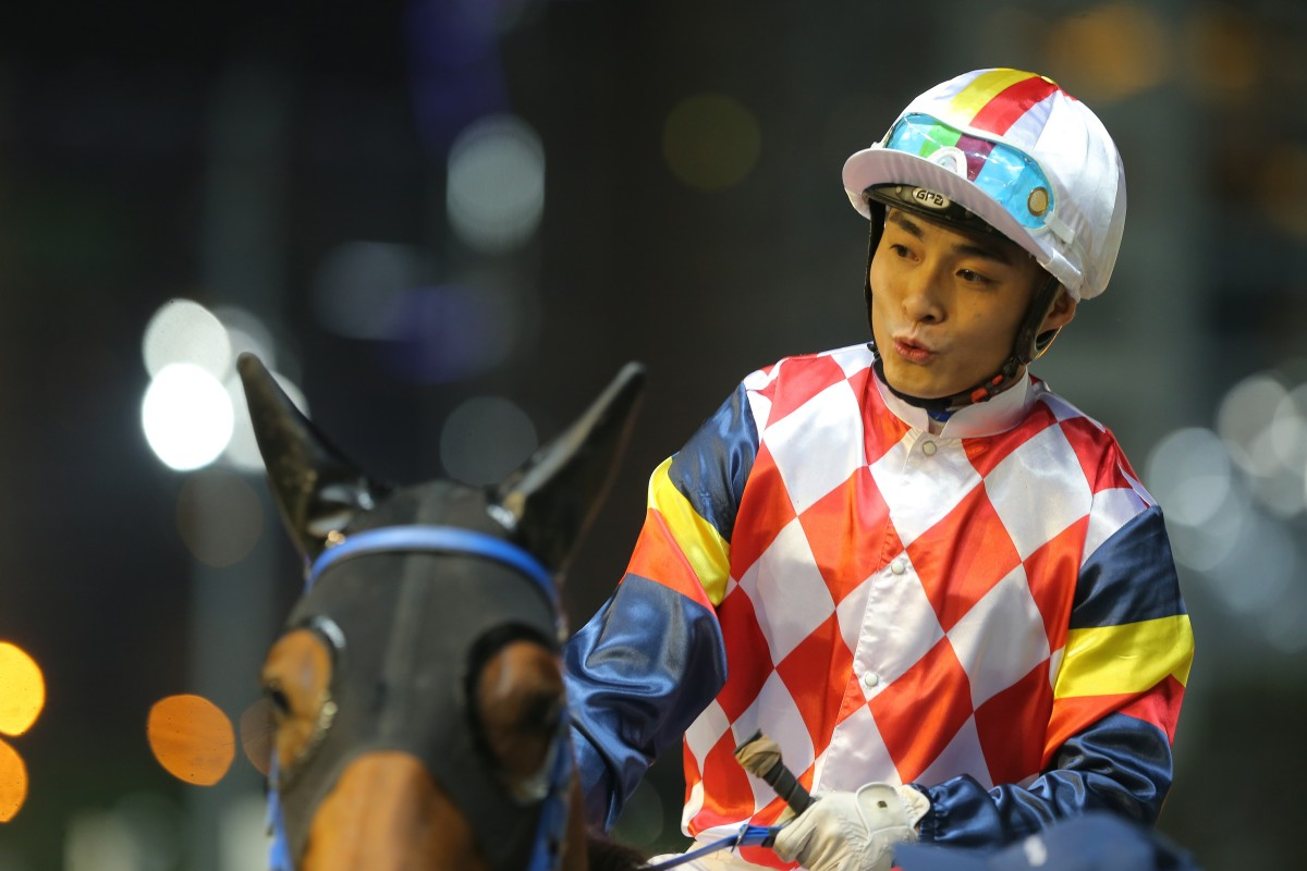 Keith Yeung after winning aboard Hardly Swears in November. Photos: Kenneth Chan