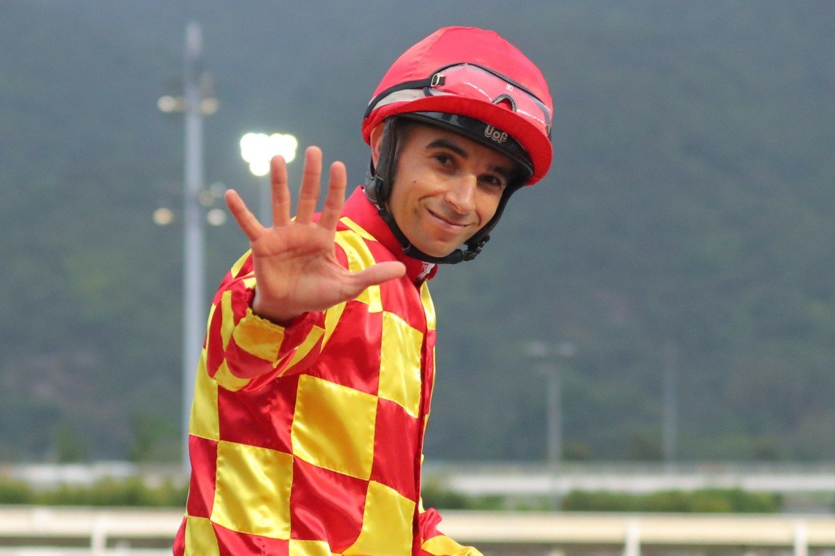 Joao Moreira laps up his five-win haul after saluting aboard Shining Ace. Photos: Kenneth Chan