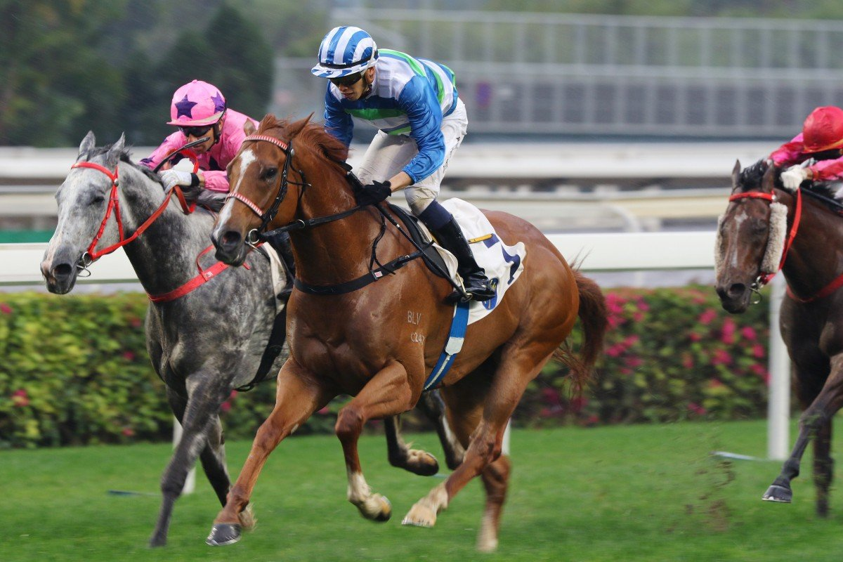 Voyage Warrior leads throughout to win the Group Two Sprint Cup at Sha Tin on Sunday. Photos: Kenneth Chan