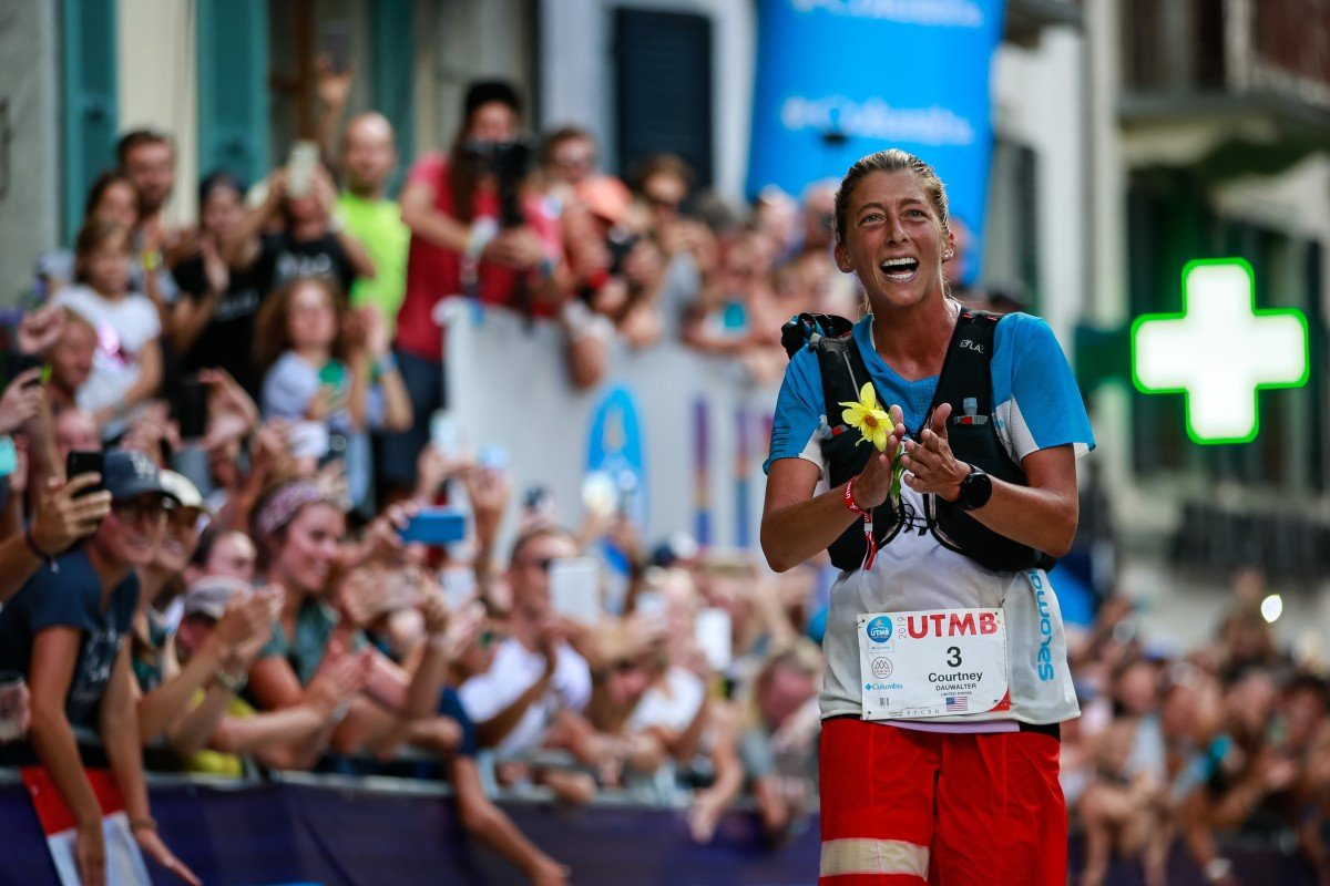 Courtney Dauwalter wins the UTMB 2019 – long races, over 161km, are the events that attract her the most. Photo: UTMB/Christophe Pallot
