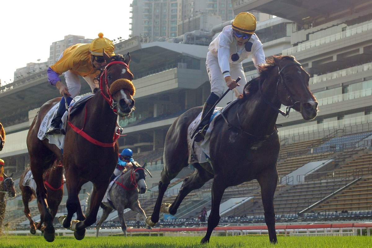 Golden Sixty wins the Hong Kong Derby at Sha Tin in March. Photos: Kenneth Chan