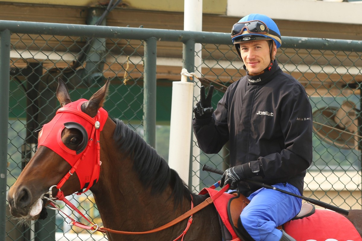 Antoine Hamelin returns after working Perfect Match at Sha Tin on Thursday. Photos: Kenneth Chan