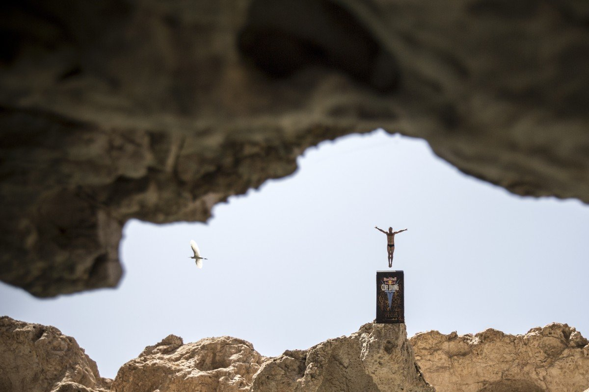 Kent De Mond of the USA takes part in the 2012 Red Bull Cliff Diving World Series in Oman. Photo: Romina Amato/Red Bull Content Pool