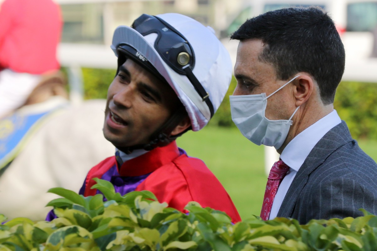 Joao Moreira and Douglas Whyte after combining for a winner at Sha Tin. Photos: Kenneth Chan
