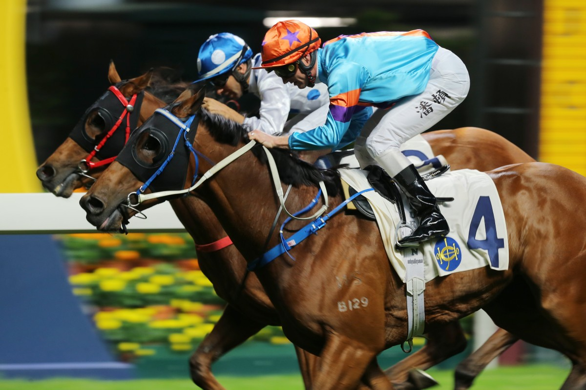 Zac Purton and Dances With Dragon (outside) edge Joao Moreira and Enrichment. Photos: Kenneth Chan