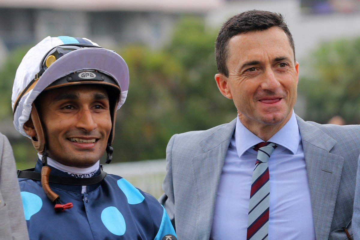 Douglas Whyte with jockey Karis Teetan after a win from Will Power this season. Photos: Kenneth Chan