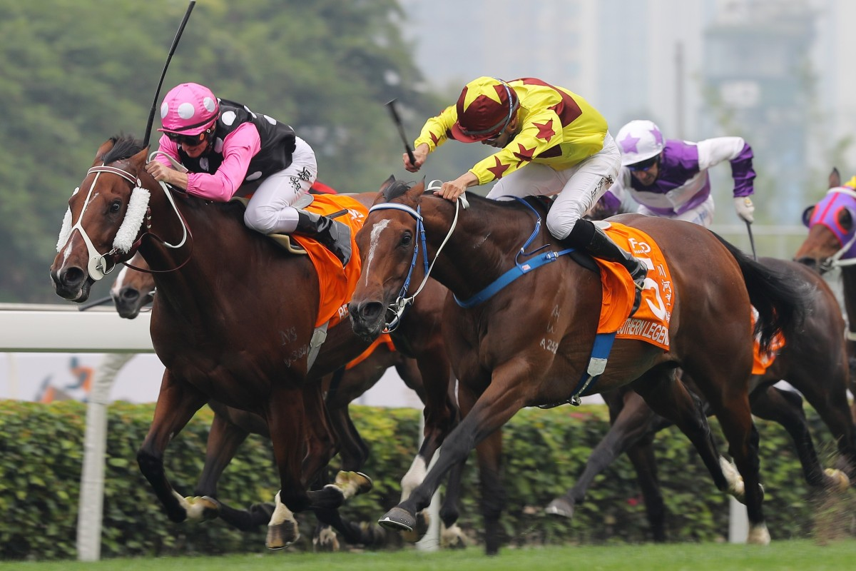 Beauty Generation and Southern Legend go toe-to-toe in the Champions Mile. Photo: Kenneth Chan