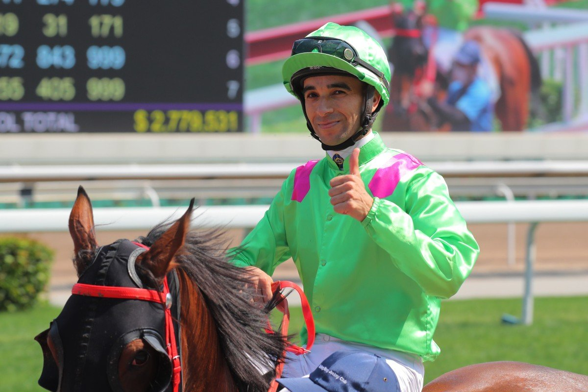 Joao Moreira celebrates one of his 107 winners this season. Photos: Kenneth Chan