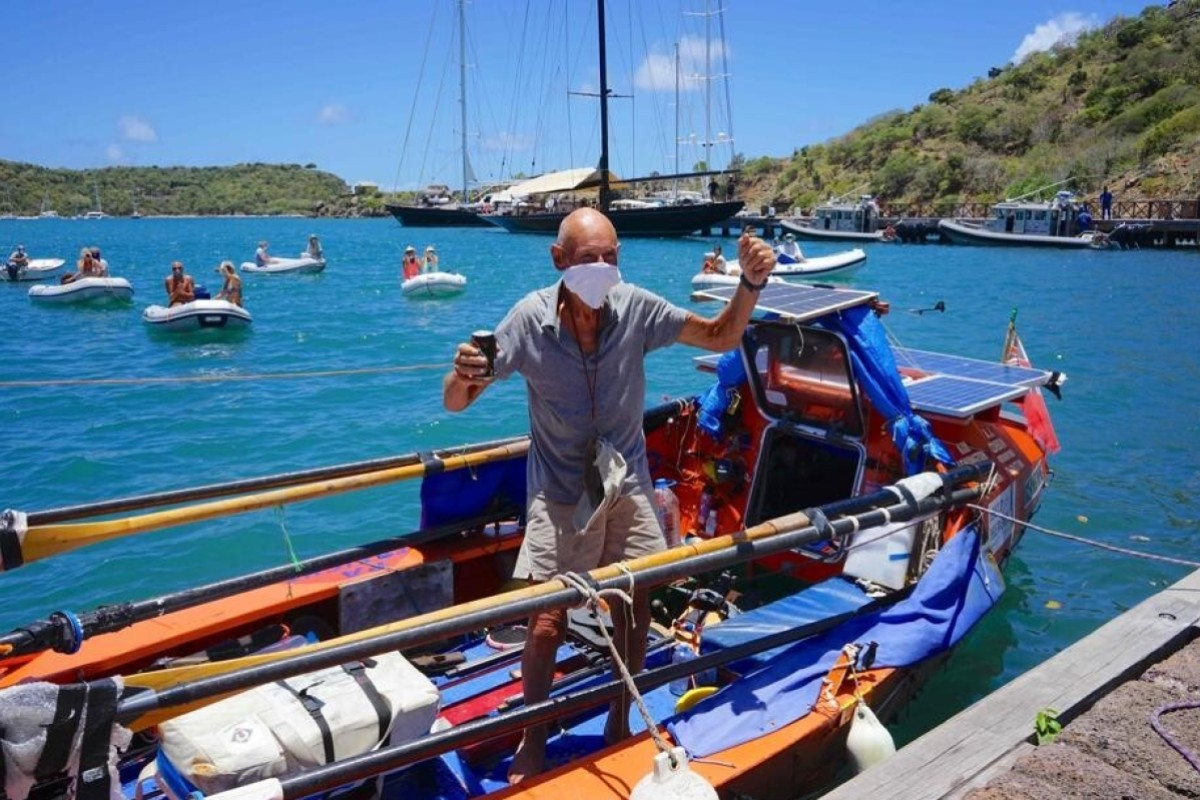 Graham Walters arrives in Antigua to become the oldest person, 72, to row any ocean. Photo: Agence France-Presse