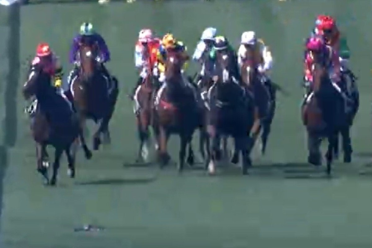 A drone (bottom left) hovers over the races at Sha Tin.