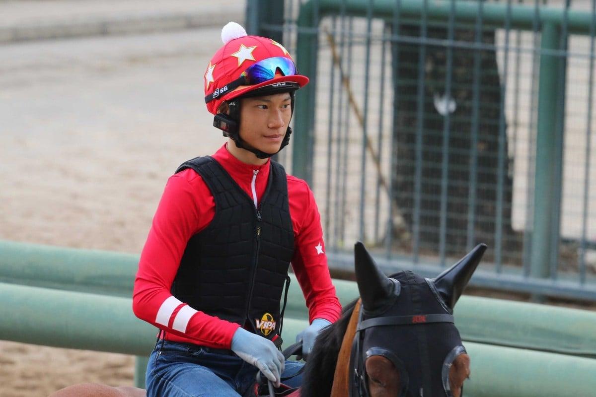 Jerry Chau rides trackwork at Sha Tin ahead of his Hong Kong debut. Photos: Kenneth Chan