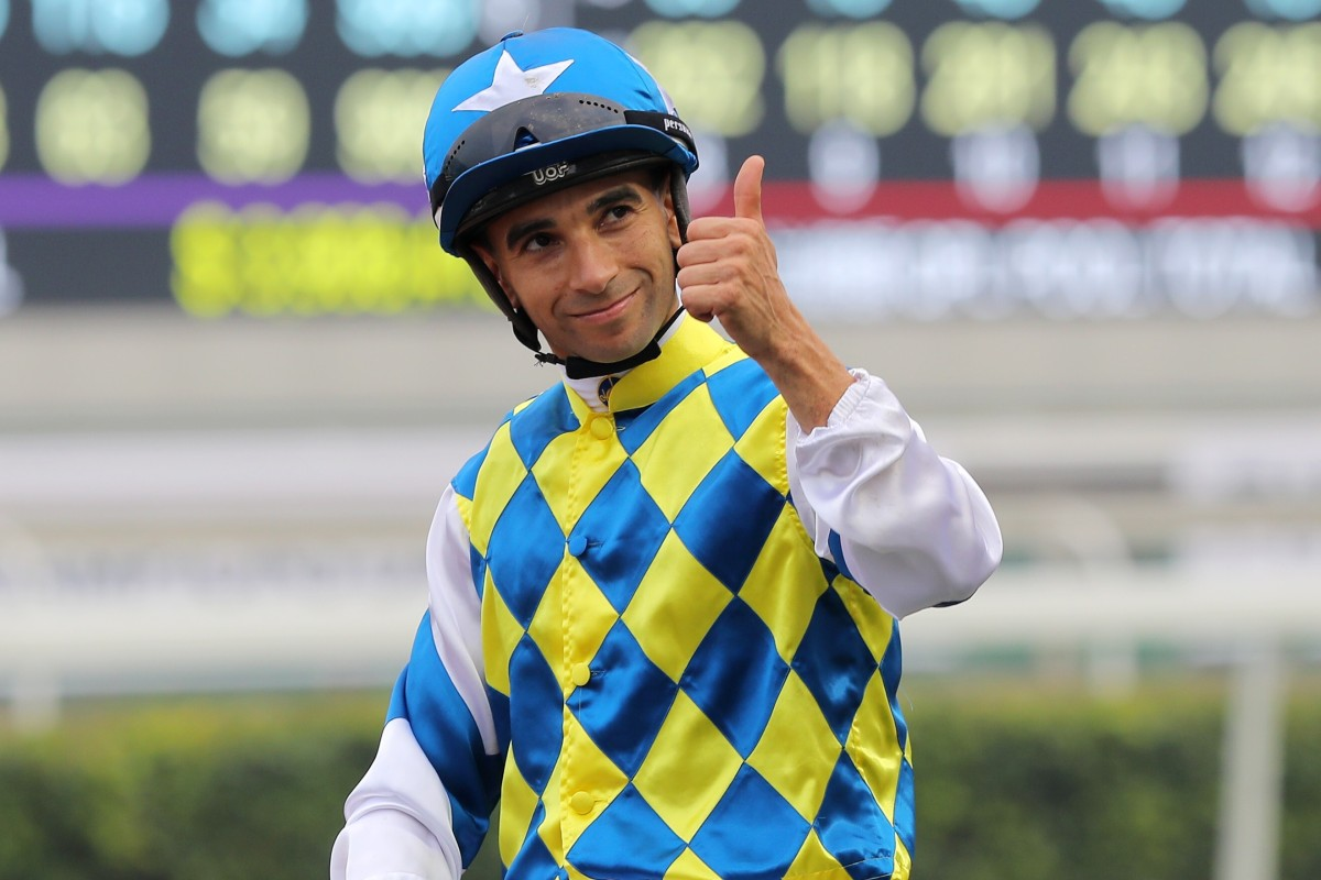 Joao Moreira celebrates a recent win on Computer Patch. Photos: Kenneth Chan
