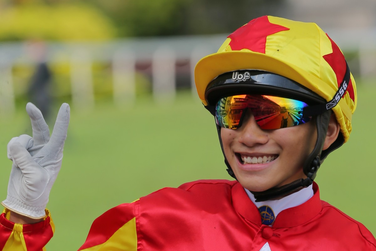 Jerry Chau flashes a big smile after winning his first race in Hong Kong. Photos: Kenneth Chan