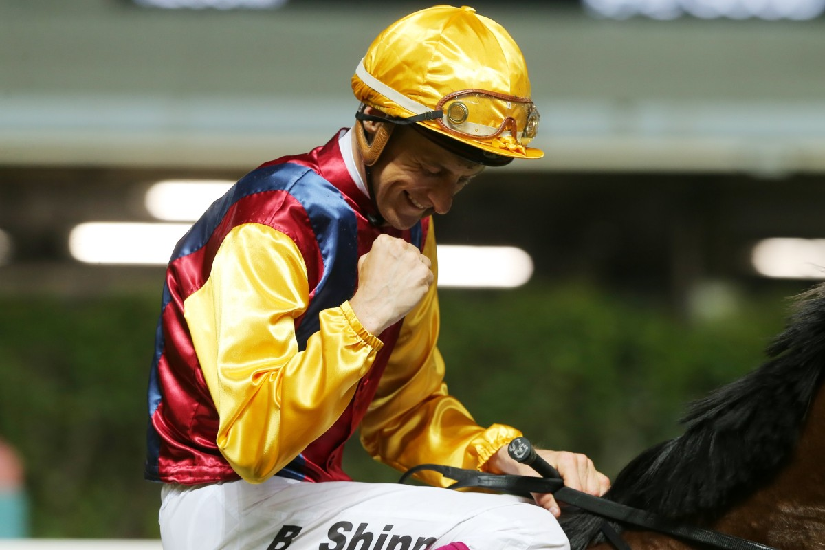 Blake Shinn celebrates his victory aboard Daily Delight. Photos: Kenneth Chan