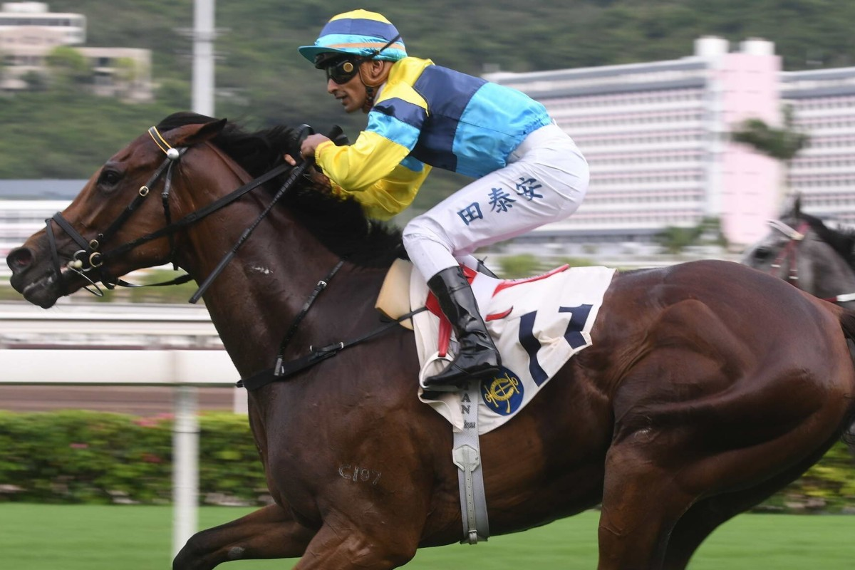Karis Teetan wins on Righteous Doctrine at Sha Tin on Sunday. Photos: Kenneth Chan