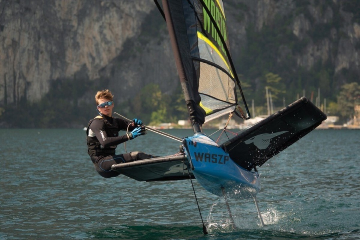 Nicolai Jacobsen is the youngest member of the Youth America's Cup team but one of the most experienced foilers, where the hull is lifted out of the water to decrease drag. Photo: Hartas Productions