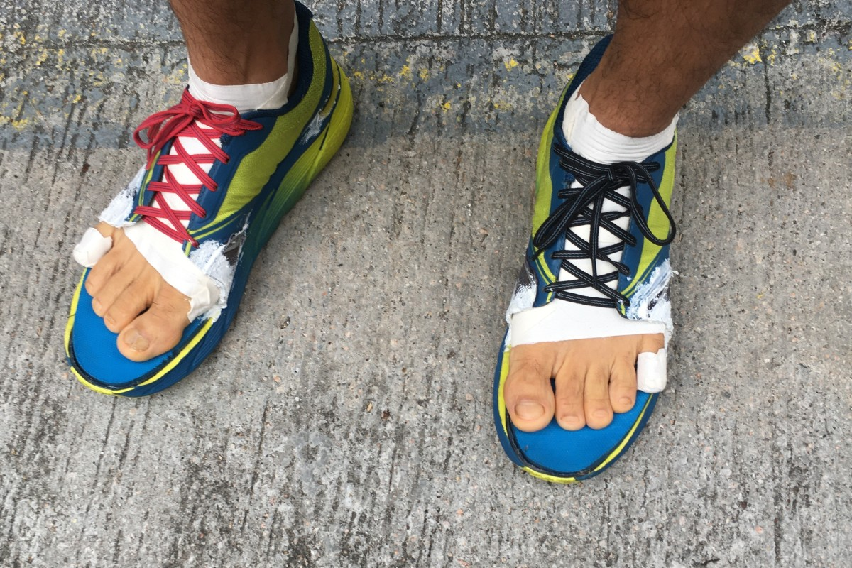 Phairat Varasin, a finisher of the 298km Hong Kong Four Trails Ultra Challenge, has modified his shoes for more toe room. Photo: Mark Agnew