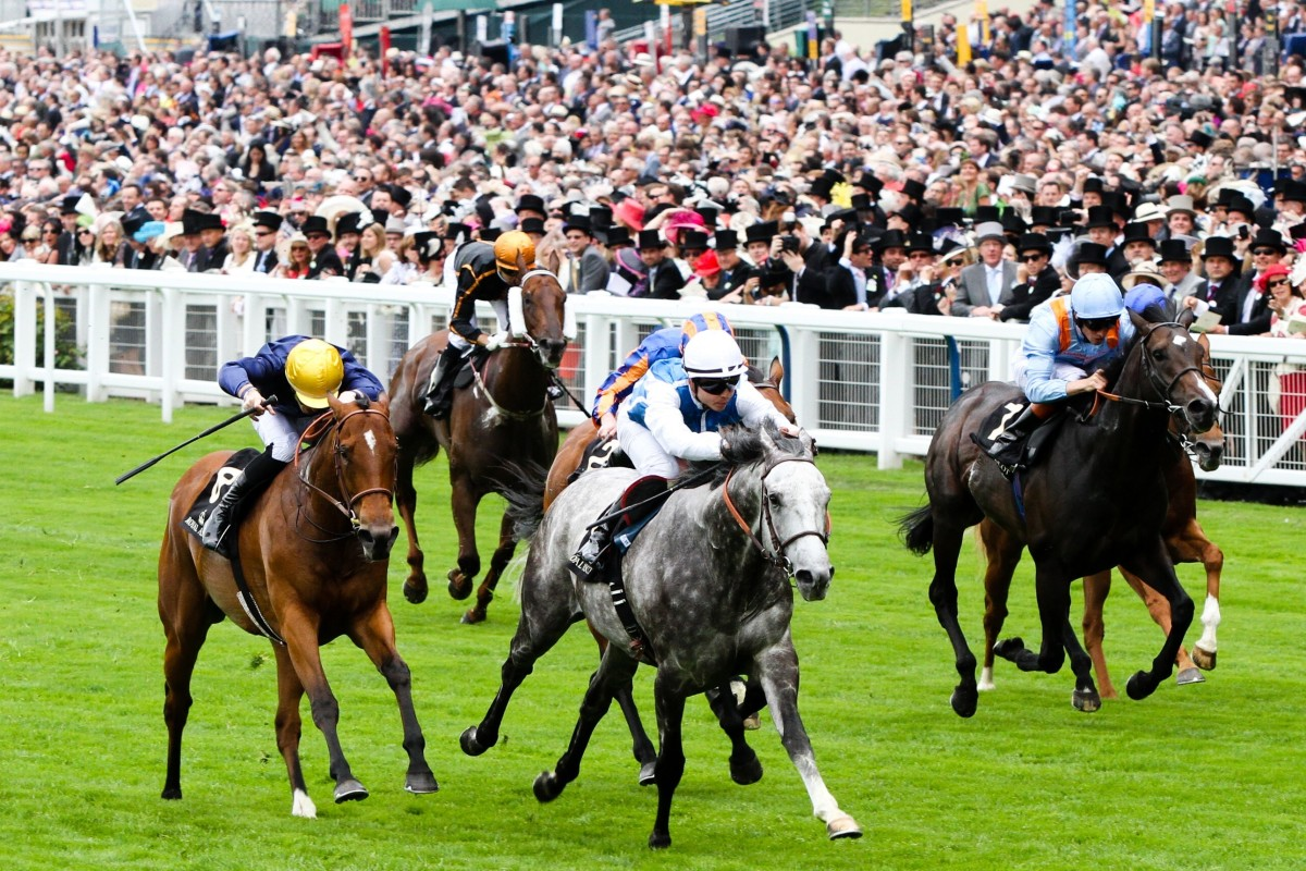 Solow (Maxime Guyon) wins the Queen Anne Stakes at Royal Ascot in 2015, with Hong Kong runner Able Friend (Joao Moreira) a distant sixth. Photo: Liesl King
