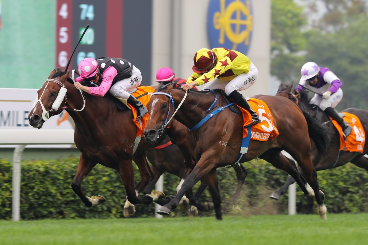 Southern Legend grabs Beauty Generation to win last month's Champions Mile. Photos: Kenneth Chan
