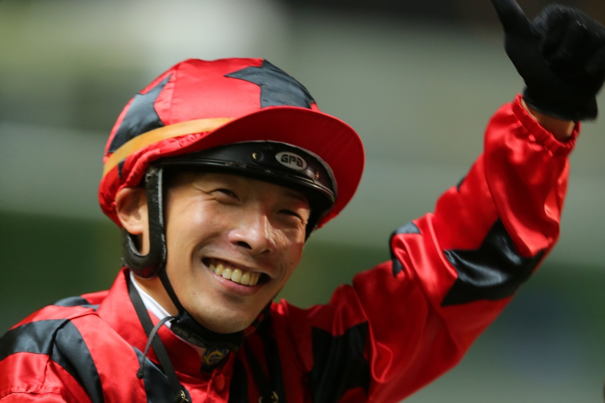Ben So is all smiles after Divine Unicorn's win on Wednesday night. Photos: Kenneth Chan