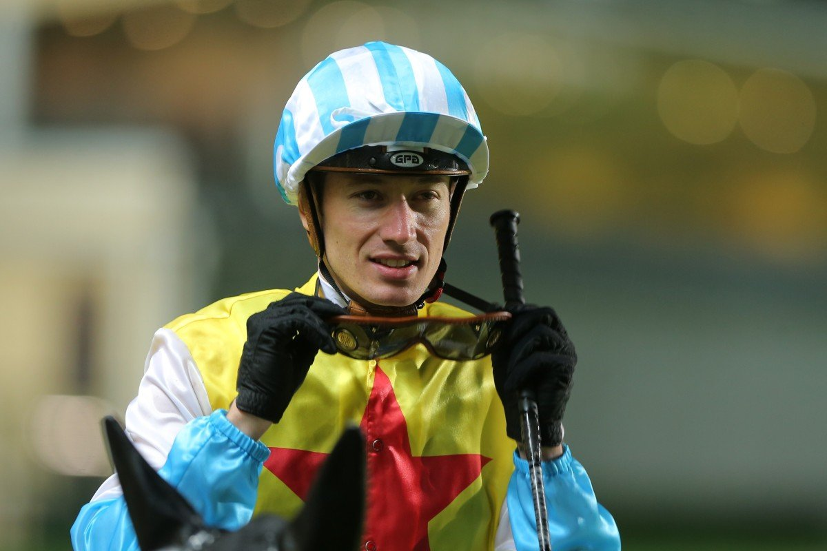 Antoine Hamelin after riding a winner at Happy Valley. Photos: Kenneth Chan