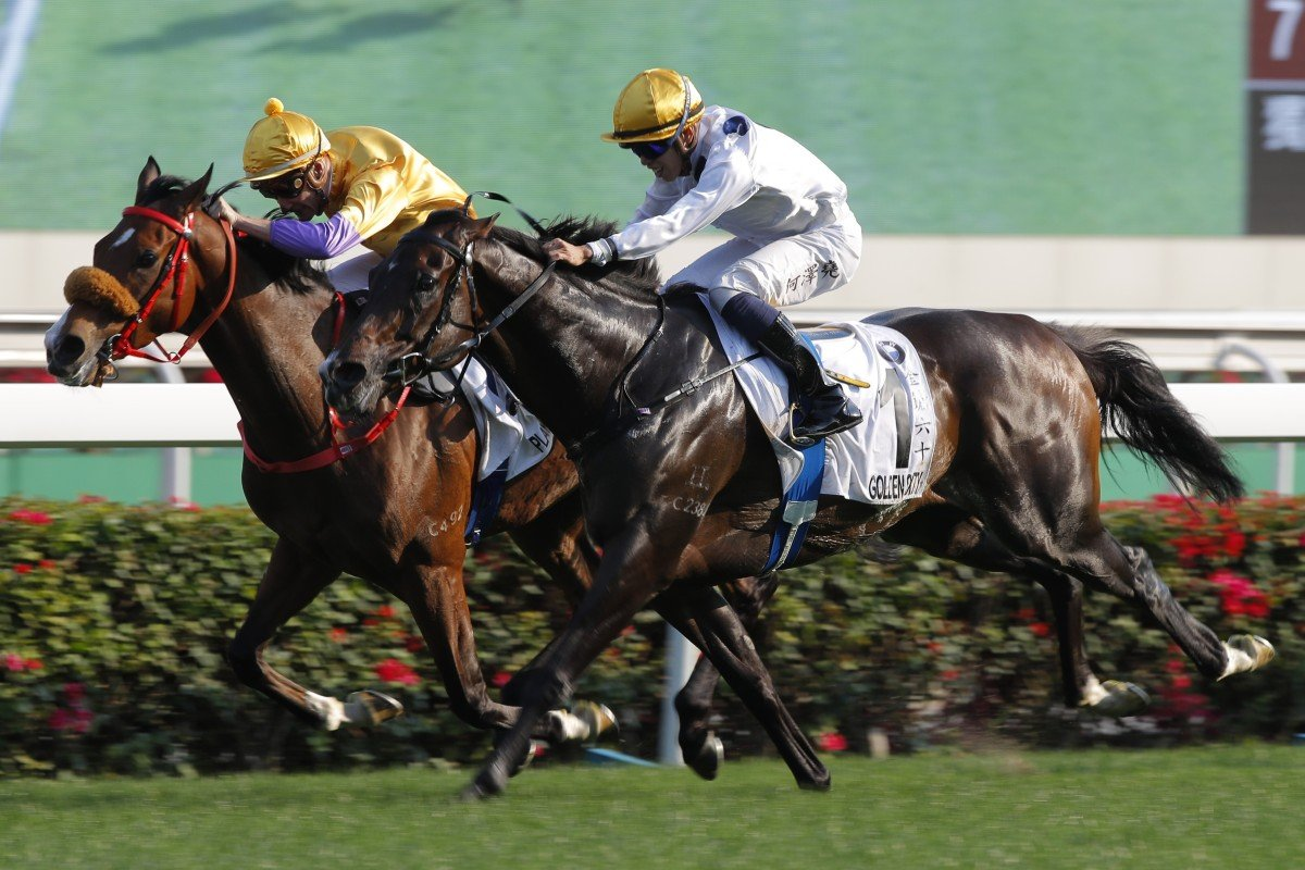 Golden Sixty (outside) wins this year's Hong Kong Derby. Photos: Kenneth Chan