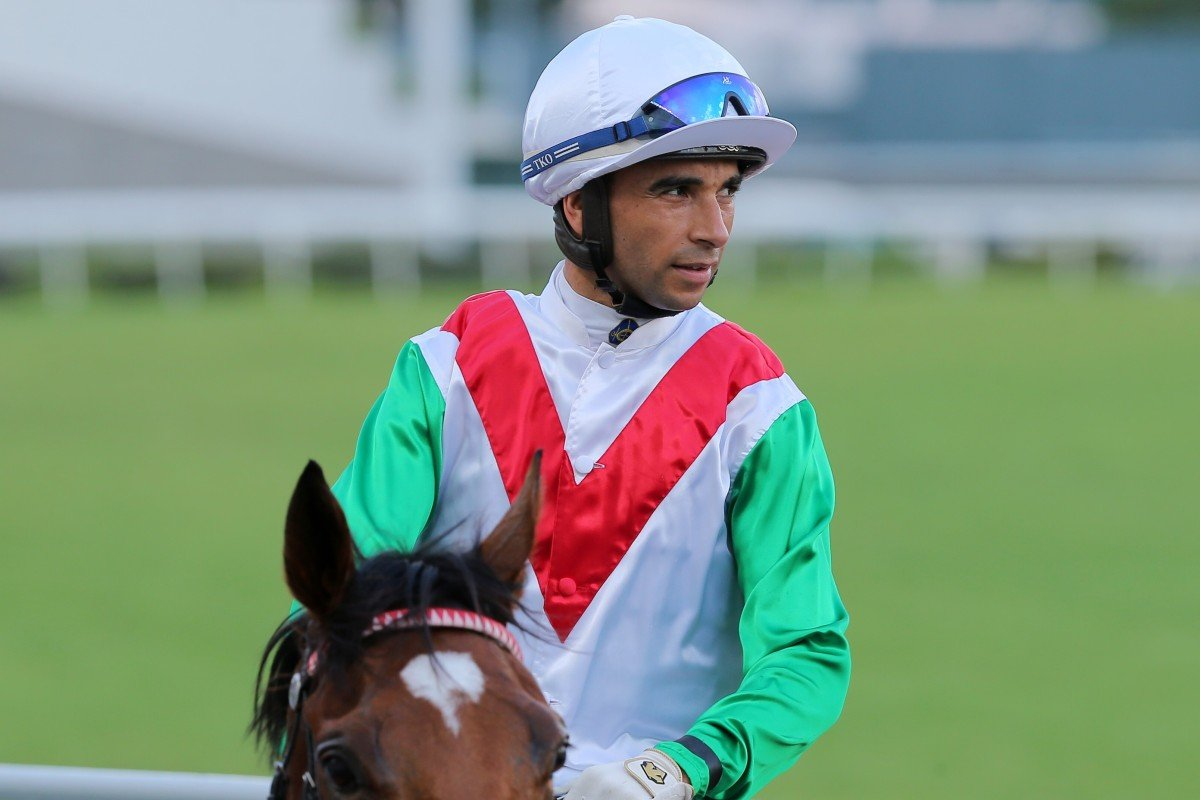 Joao Moreira returns to scale after winning on Good Luck Friend. Photos: Kenneth Chan