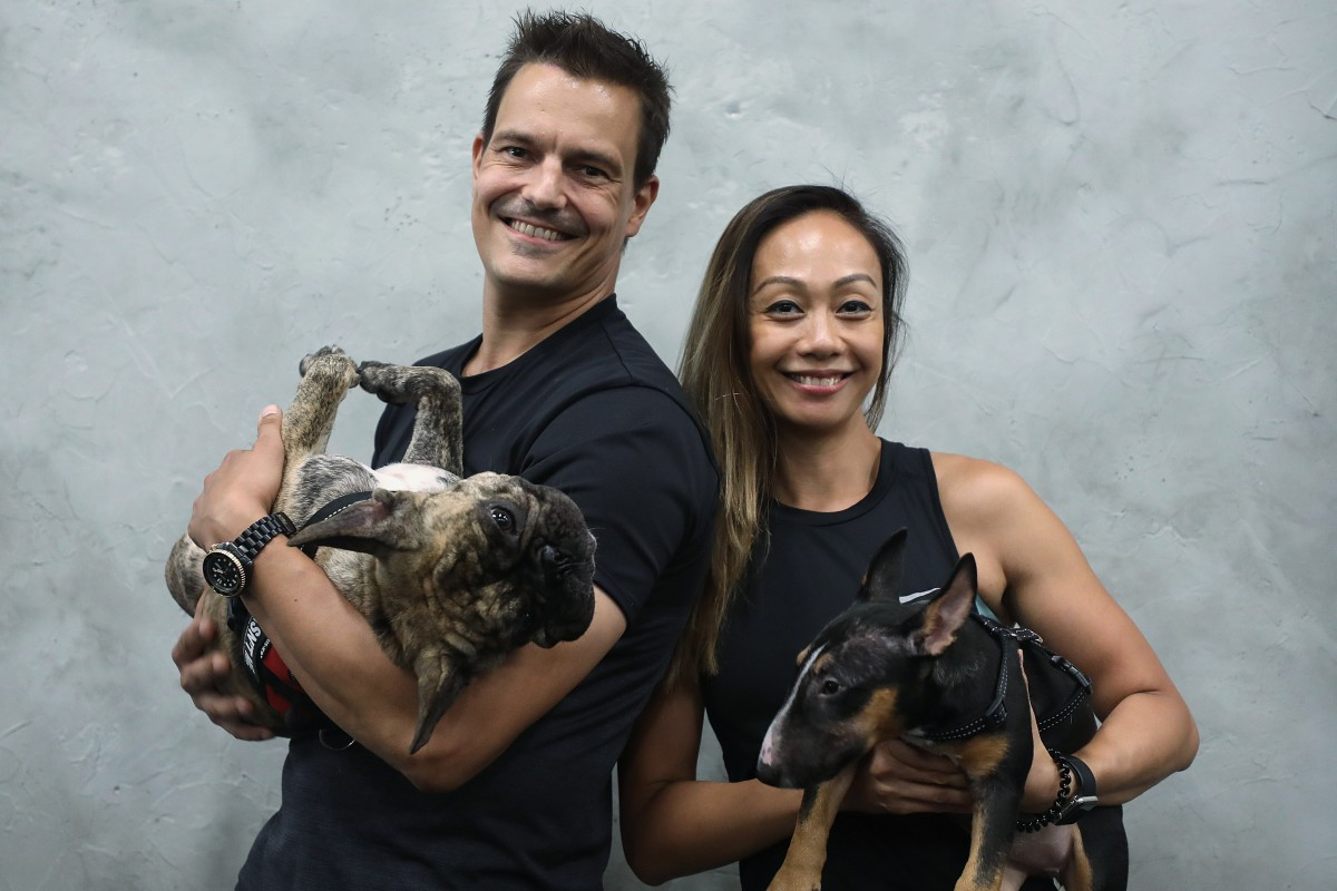 Julius and Angela Ranta with Ruby and Roxy. Photo: Xiaomei Chen