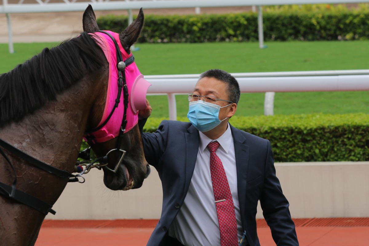 Francis Lui gives Winston's Lad a pat after winning at Sha Tin on Saturday. Photos: Kenneth Chan