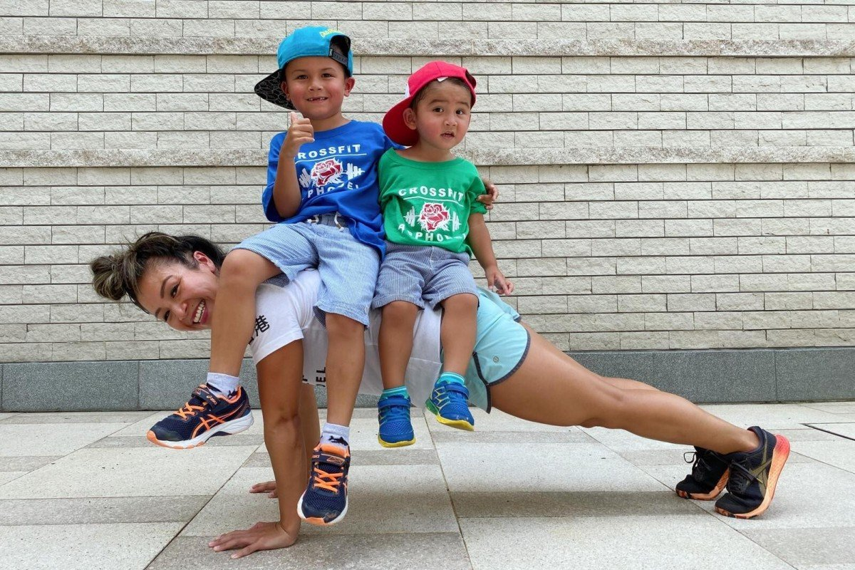 Hong Kong CrossFit coach Michelle O'Brien shows how to incorporate family members into your workouts with her sons Ashton and Noah. Photo: Handout