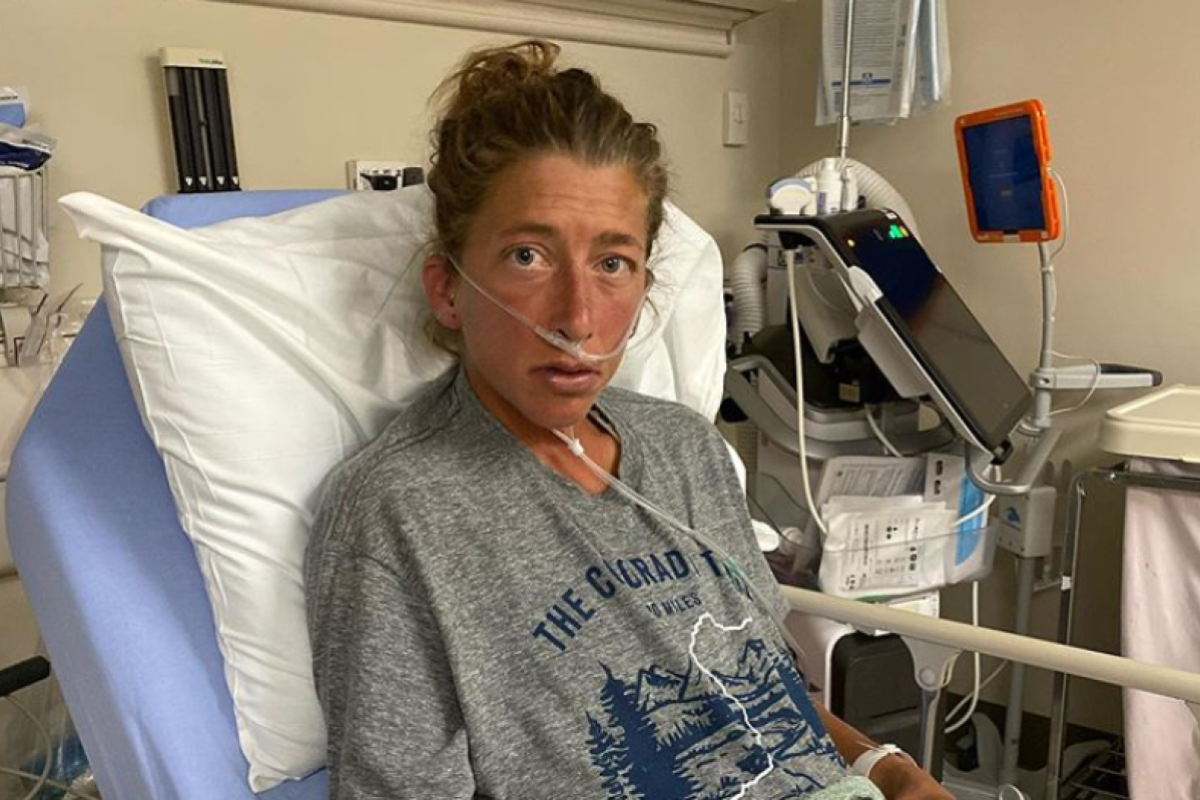 Courtney Dauwalter in hospital after her Colorado Trail FKT attempt. Photo: @courtneydauwalter/Instagram
