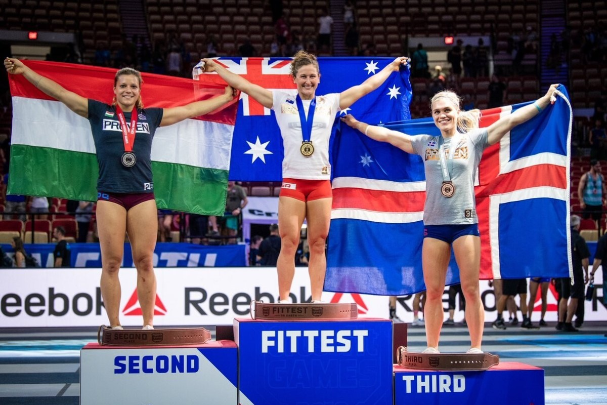 Tia Toomey, Laura Horvath and Katrin Davidsdottir on the women's podium in 2018, a very different view to the online version in this year's Covid-19 pandemic. Photo: CrossFit