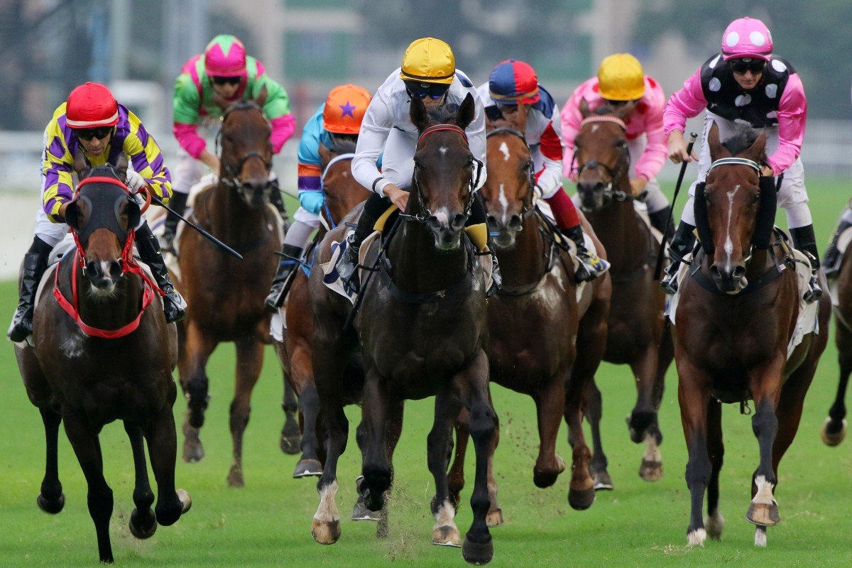 Beauty Generation (right) finishes in a dead-heat for second with Champion's Way (left) behind Celebration Cup winner Golden Sixty (middle). Photo: Kenneth Chan