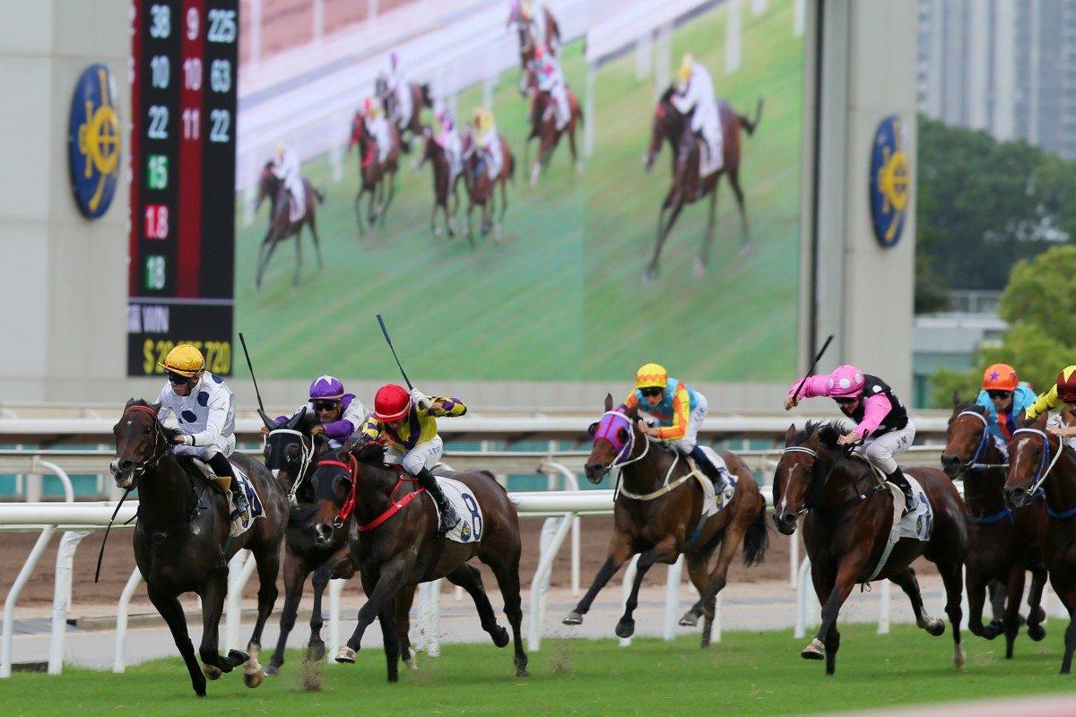 Vincent Ho guides Golden Sixty to victory in Sunday's Group Three Celebration Cup. Photos: Kenneth Chan