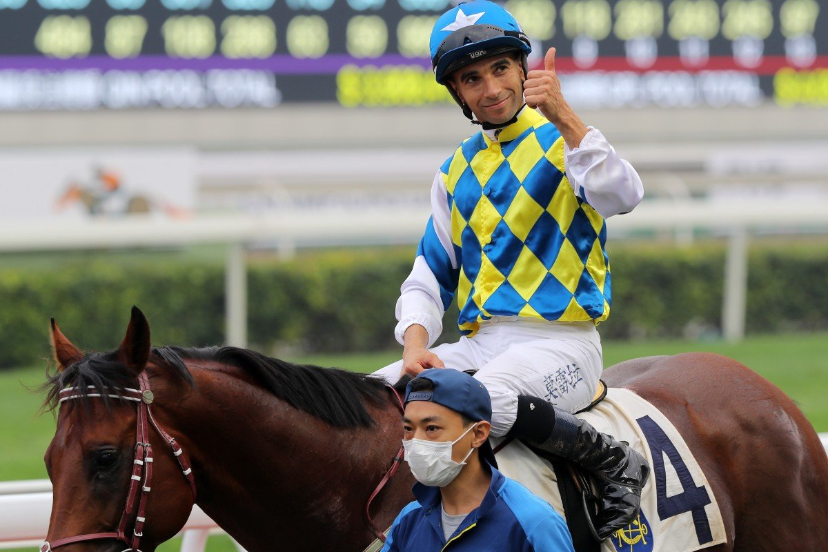 Joao Moreira gives a thumbs up after winning on Computer Patch last season. Photos: Kenneth Chan