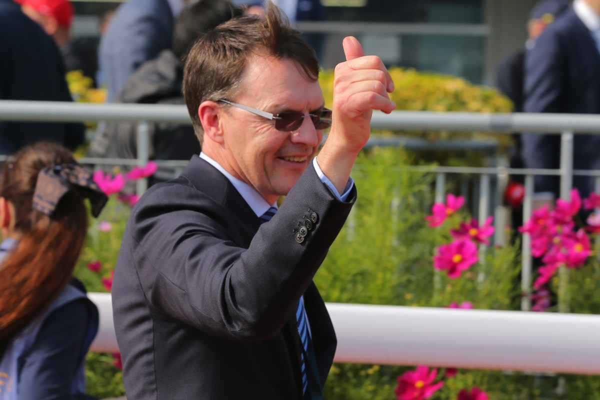Aidan O'Brien celebrates Highland Reel's win in the Hong Kong Vase in 2017. Photos: Kenneth Chan