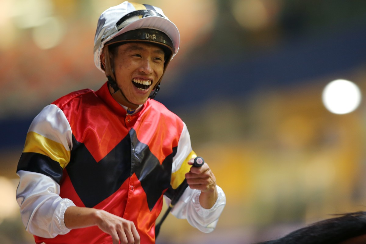 Vincent Ho laughs in delight after Stock Legend's stunning win at Happy Valley on Wednesday night. Photos: Kenneth Chan