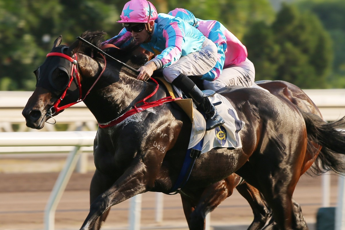 Healthy Happy dashes clear under Chad Schofield to win at Sha Tin on Sunday. Photos: Kenneth Chan