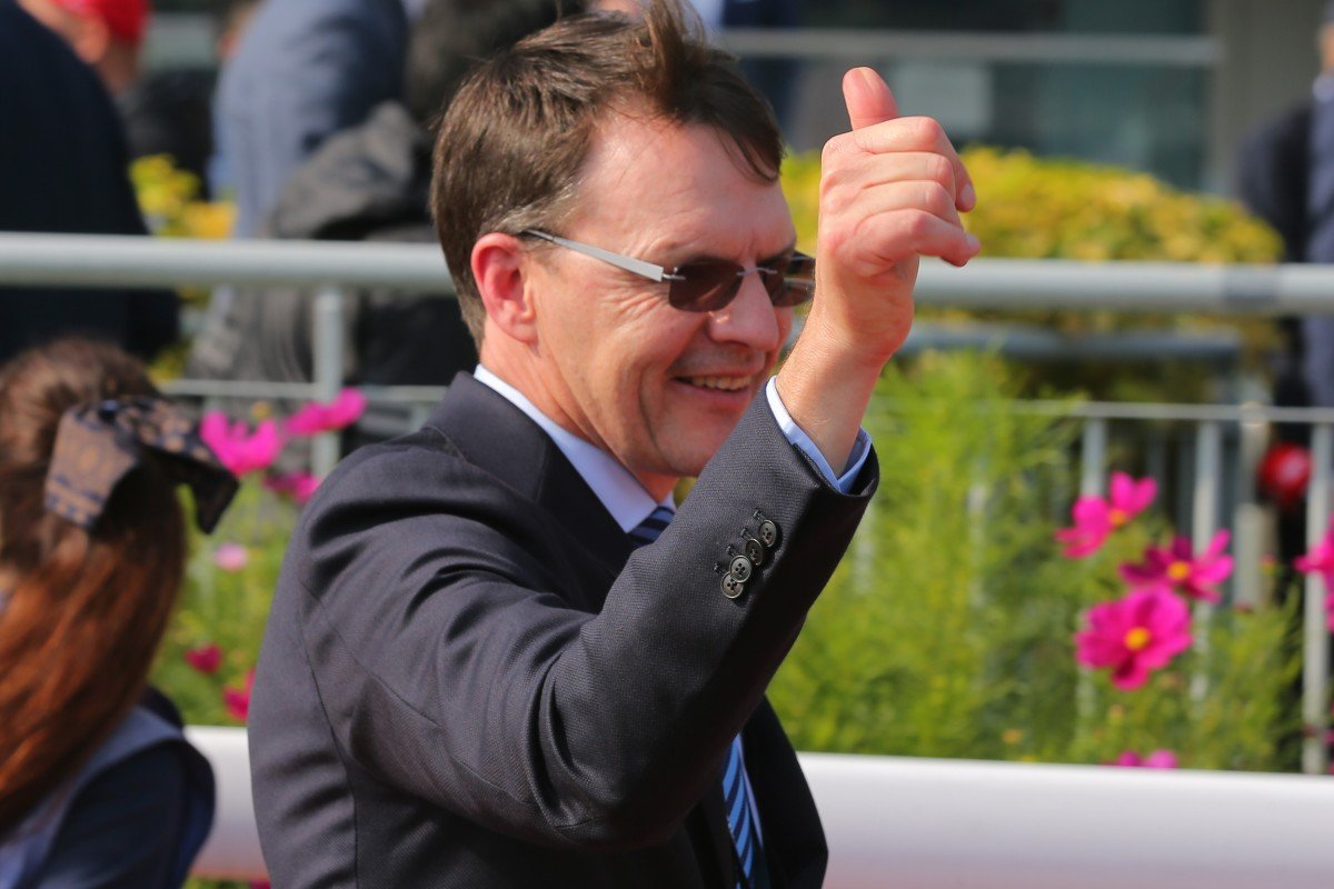 Aidan O'Brien celebrates a win at Sha Tin. Photos: Kenneth Chan