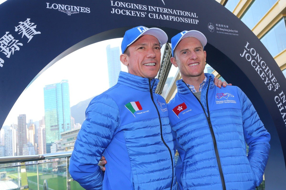 Frankie Dettori with Zac Purton at the 2019 International Jockeys' Championship draw. Photos: Kenneth Chan