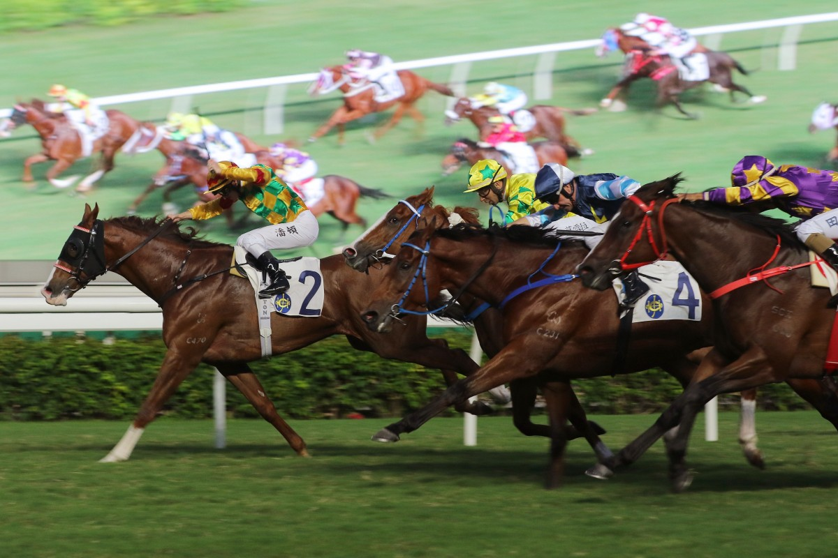 Mighty Giant beats Sky Field, Ballistic King and Lucky Express on Saturday. Photo: Kenneth Chan