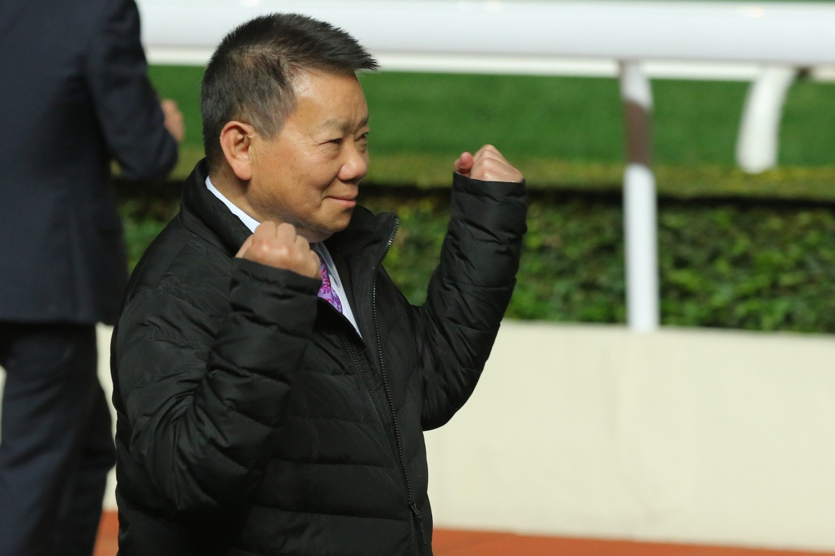 Manfred Man celebrates a Big Time Baby victory at Sha Tin. Photos: Kenneth Chan