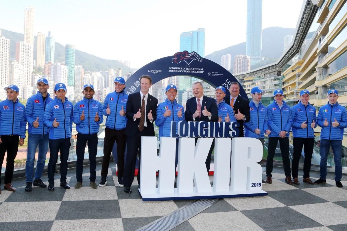 Jockey Club officials and riders ahead of the 2019 International Jockeys' Championship. Photos: Kenneth Chan