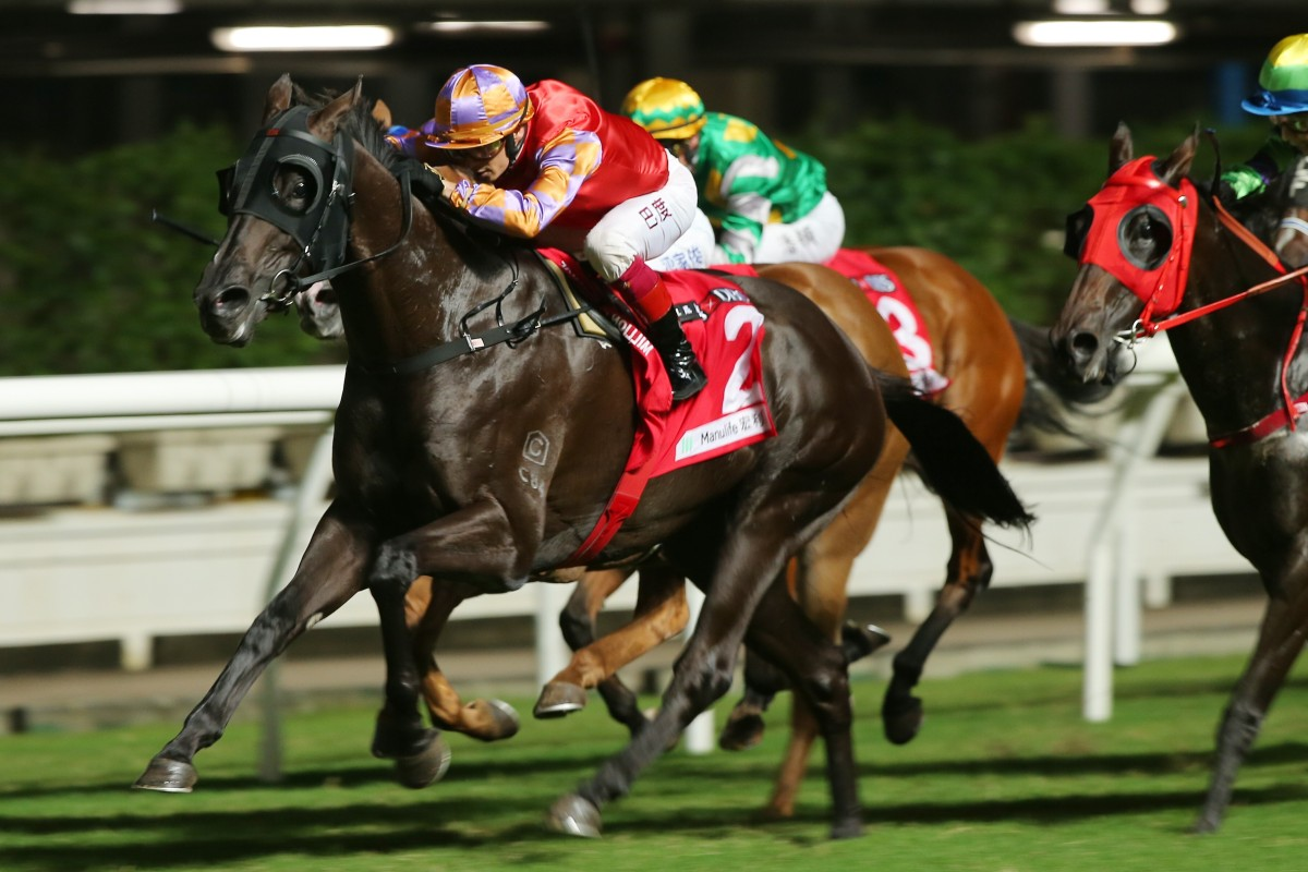 Tashidelek dashes clear to win under Alexis Badel at Happy Valley. Photos: Kenneth Chan