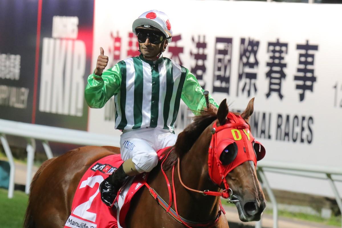Karis Teetan celebrates a winner at Happy Valley on Wednesday night. Photos: Kenneth Chan