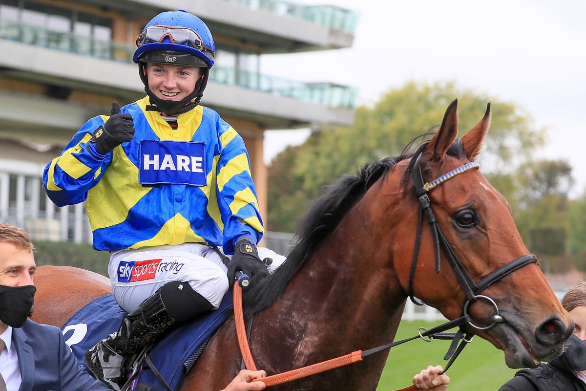 Hollie Doyle celebrates after winning the Group Two Qipco British Champions Long Distance Cup at Ascot in October. Photo: Mark Cranham