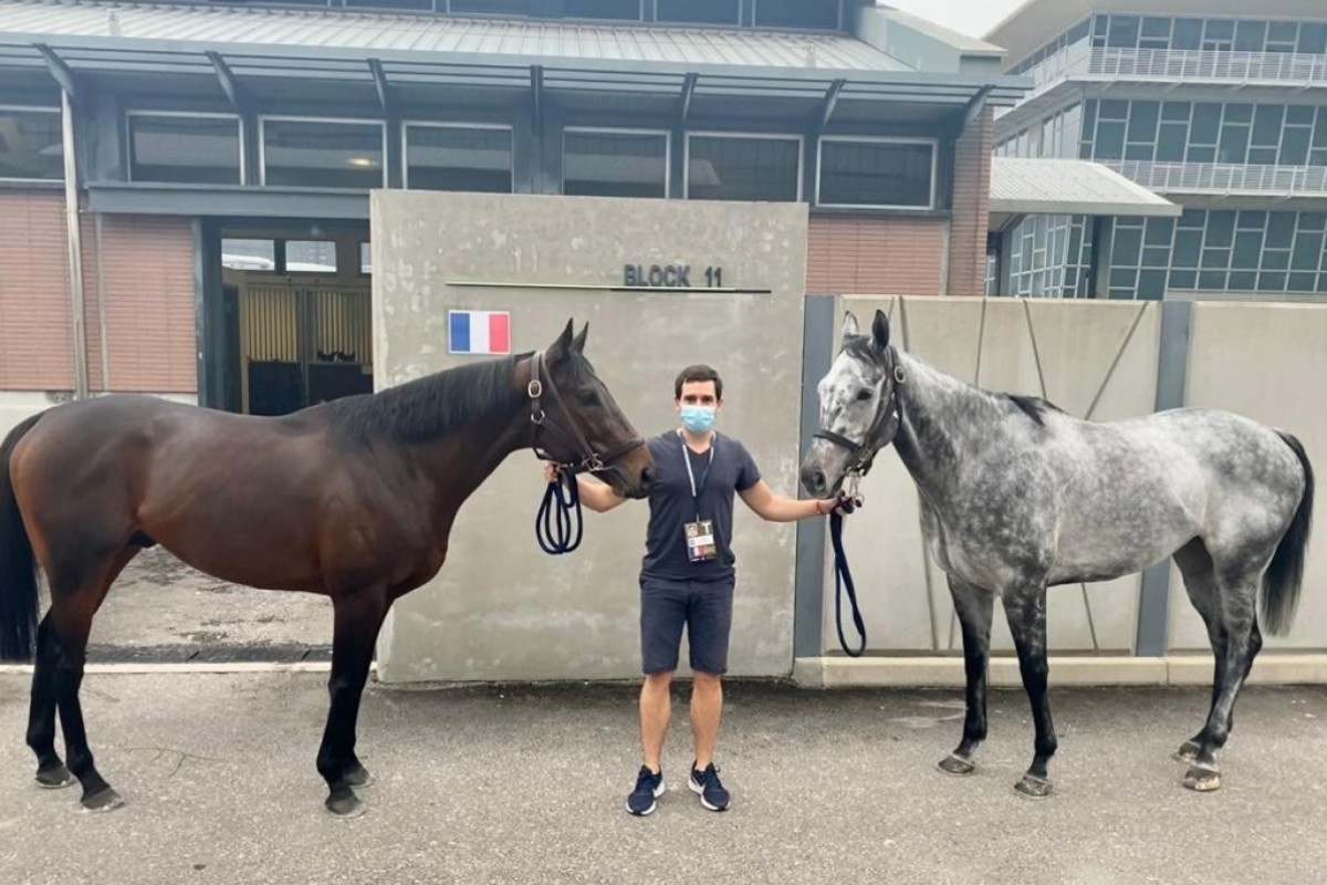 Jerome Reynier with Royal Julius (left) and Skalleti at Sha Tin. Photo: Jerome Reynier